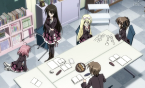 Lol, I love how while everybody is *serious discussion* Mafuyu and her sister are just playing a card game~